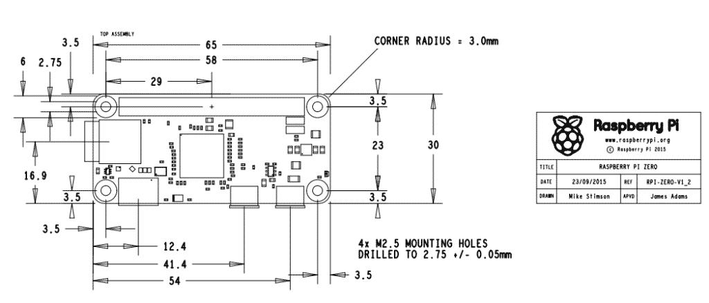 Mechanical design of Pi Zero 1.2