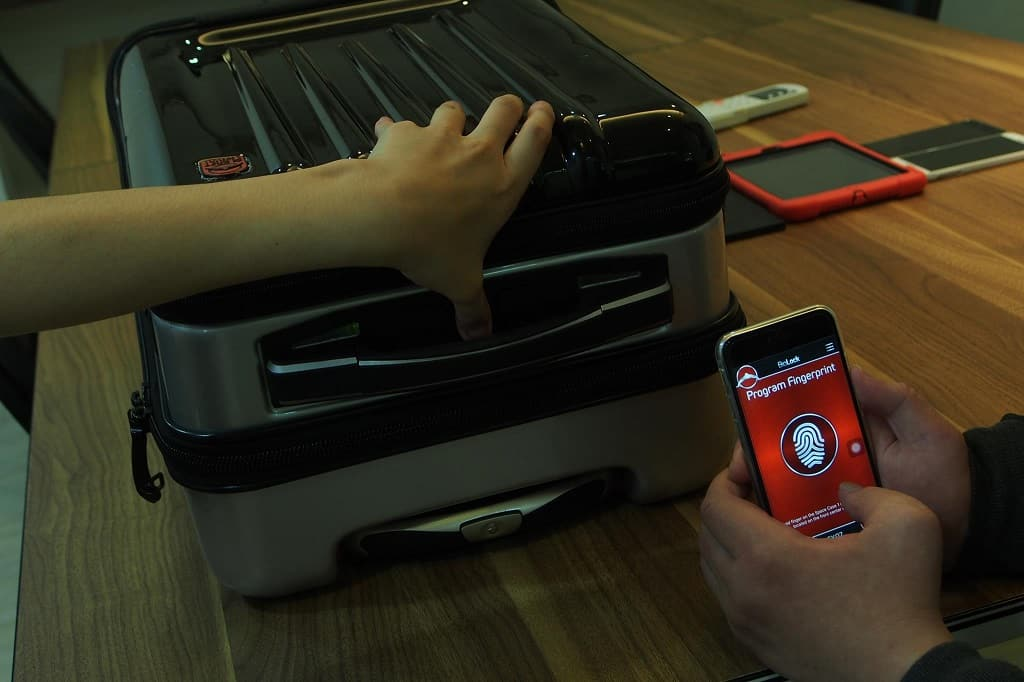 With the Planet Traveler app, Space Case 1 can enhance the security by connecting with the biometric lock. Photographer: Owen Ou