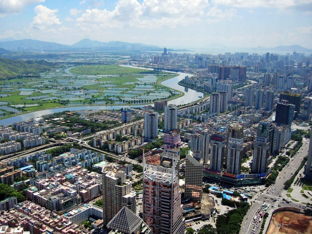 The jewel in the crown: Shenzhen, Source: https://commons.wikimedia.org/wiki/File:Shenzhen_CBD_and_River.jpg