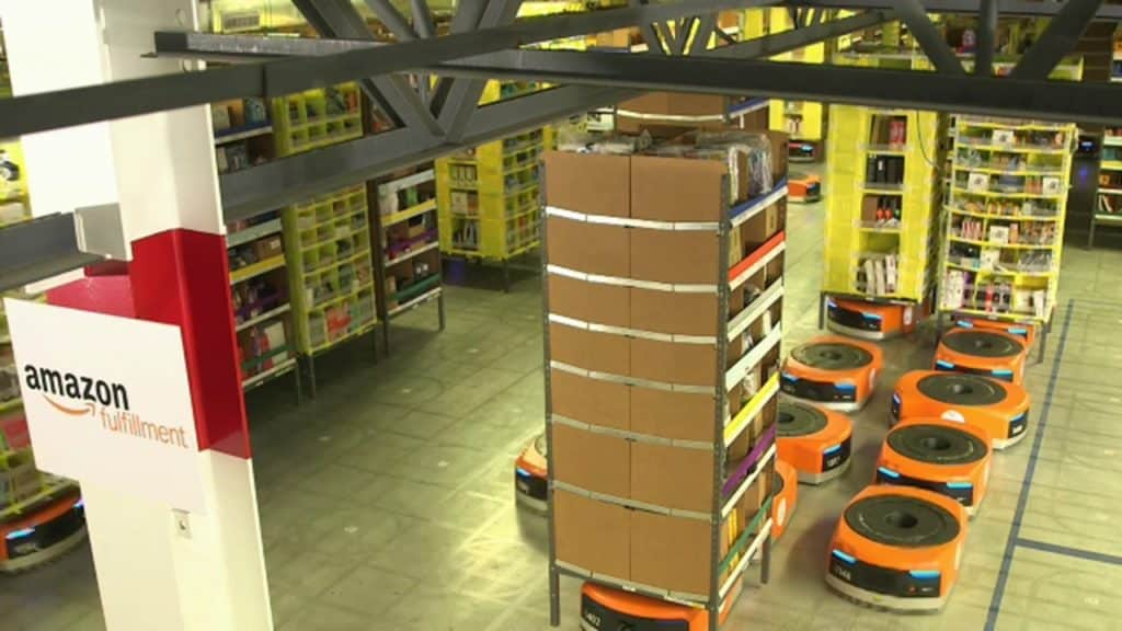 Amazon increased efficiency and service by utilizing IoRT technology in their warehouses
