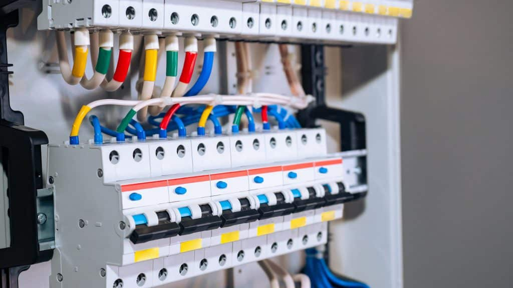 Voltage,Switchboard,With,Circuit,Breakers.,Electric,Background.,Electric,Switchboard,With