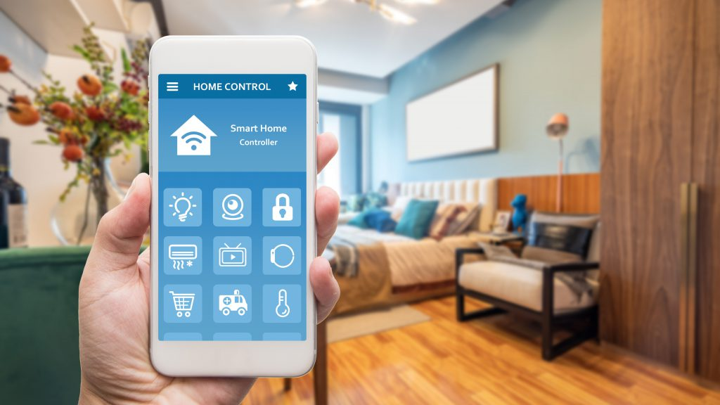 Smart,Phone,With,Smart,House,,Home,Automation,,Device,With,App