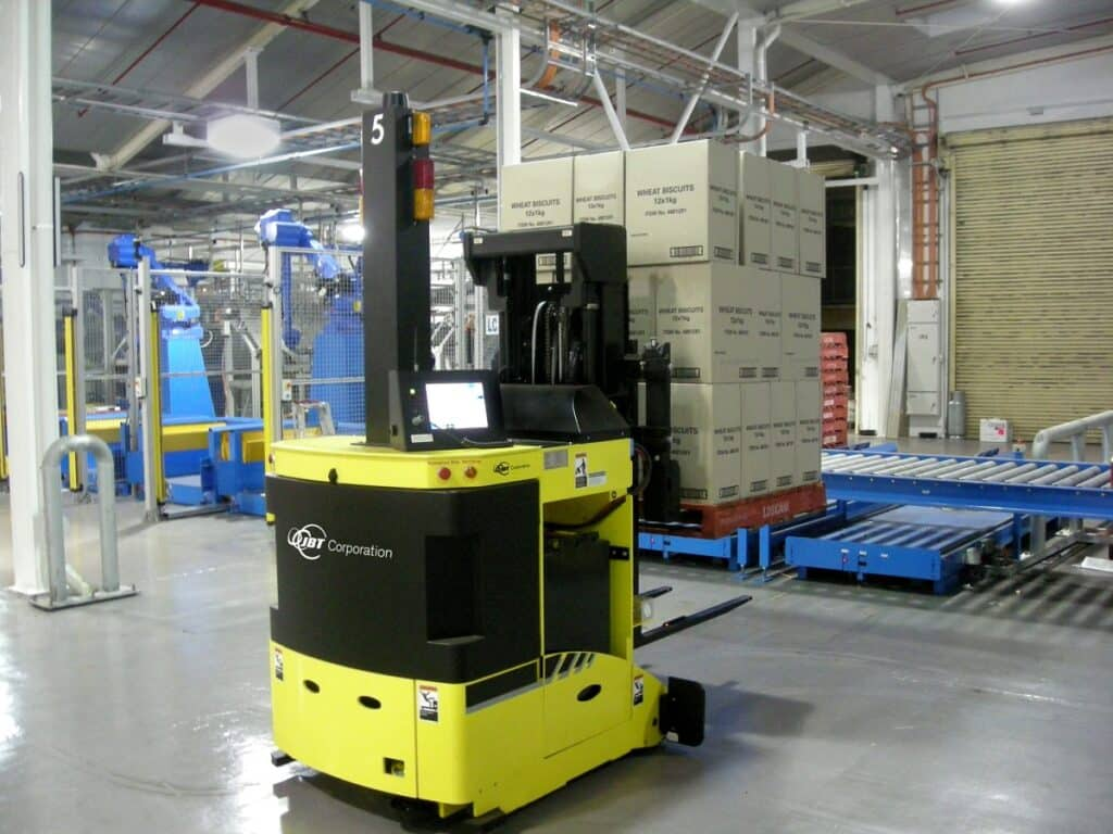 Forklift AGV in warehouse. Source: Wikipedia Commons