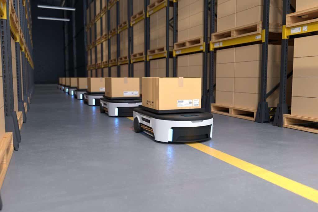 Unit Load AGVs delivering goods.
